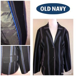 Old Navy Black Denim Striped Blazer XL